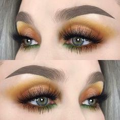 makeup looks 2017 Dramatic Eye Makeup, Eye Makeup Art, Fall Makeup, Skin Makeup, Beauty Makeup, Yellow Makeup, Blue Eye Makeup, Makeup For Brown Eyes, Makeup Goals