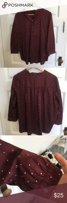 Madewell Maroon Top Size L Deep red with white dots. Longer in the back than the front. Pintucks in back of shirt. Madewell Tops Blouses