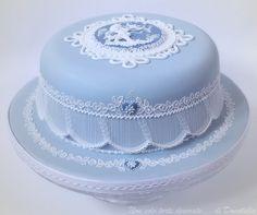 Elegant blue cake with wonderful royal icing