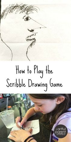 The Scribble Drawing Game Drawing Tips drawing games Drawing Games For Kids, Drawing Activities, Art Therapy Activities, Fun Activities, Children Drawing, Travel Activities, Play Therapy, Winter Activities, Drawing Prompt