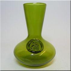 Kastrup green glass vase, by Jacob E Bang.