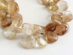 Imperial Topaz Plain Heart Beads Golden Champagne by gemsforjewels