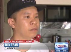 "TOLD TO TAKE AMERICAN FLAG DOWN BECAUSE IT OFFENDS MUSLIMS:  When Duy Tran moved into his apartment a few days ago, he wasted no time in hanging an American flag from the balcony.""It means a lot to me,"" he told KHOU-TV in Houston. I'm gonna leave my flag there, as an American, until she shows me proof that I don't have the right to leave my flag there,"" Tran told the station. ""I have friends that died for this country."""