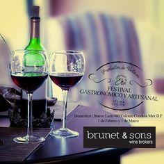 """Como dice el #refran """"Da vino al que tiene amargo el corazón"""" nuestros amigos de Brunet & sons presentarán en el 10º Festival Gastronómico y Artesanal su deliciosa selección de vinos. No te lo puedes perder, te esperamos !!"""
