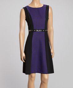 Look what I found on #zulily! Black & Purple Houndstooth Sleeveless Sheath Dress by Glamour #zulilyfinds