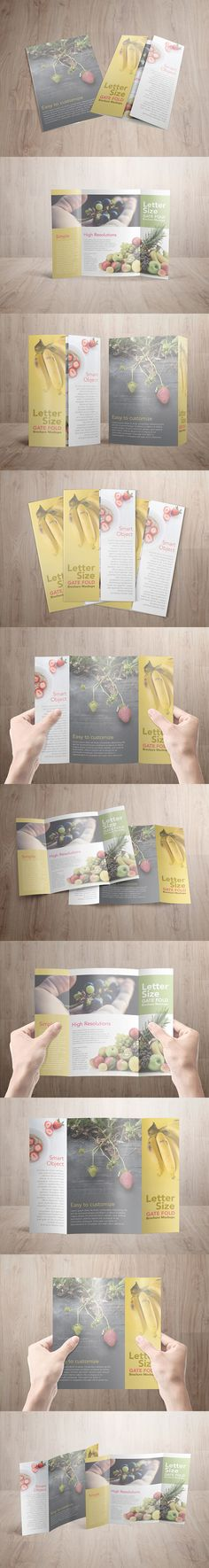 """This is one of the most common sizes for gate fold brochure 8.5"""" x 11"""" which folds to 8.5"""" x 5.5"""", this mockup template will make your job to showcase your design become much easier and faster. By using the smart object feature on photoshop, you just need to drag and drop your design into it and your showcase is ready. This package consists 10 PSD files of mockups, design and background on this mockups are not included, they're for preview purposes only."""