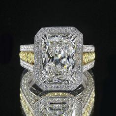 3.51ct GIA 18K White Gold Radiant Cut Diamond Ring F/VS1...