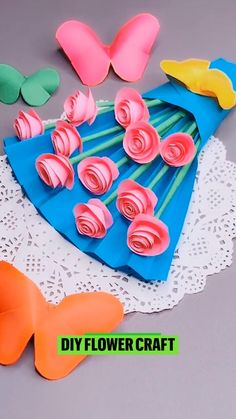 Paper Flowers Craft, Paper Crafts Origami, Paper Crafts For Kids, Craft Activities For Kids, Flower Crafts, Preschool Crafts, Colour Paper Craft, Simple Paper Crafts, Classroom Crafts