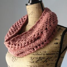 This cowl, called the Irish Mesh Cowl, was knitted previously using Knit Picks' Billow yarn in Tea Rose.