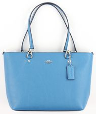 Coach Women's Peacock Blue Pebbled Leather Small Sophia Tote Purse