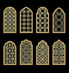 Islamic windows and doors with arabian art Vector Image Islamic Motifs, Islamic Art Pattern, Arabic Pattern, Pattern Art, Islamic Decor, Islamic Wall Art, Islamic Gifts, Arabian Decor, Arabian Art