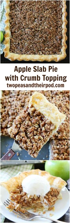 Apple Slab Pie with Crumb Topping Recipe on twopeasandtheirpod.com This easy apple pie is made in a jelly roll pan. It feeds a crowd and is always a favorite dessert. The crumb topping is amazing!