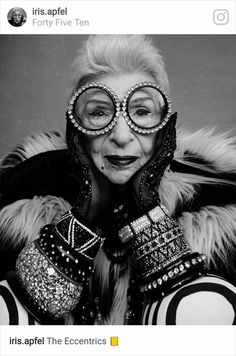 Iris and her trademark round glasses (these are embellished)!
