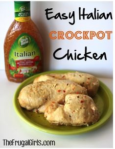 Easy Crockpot Italian Chicken! ~ from TheFrugalGirls.com ~ this delicious dinner is almost too easy and SO yummy! The perfect go-to meal! #crockpot #slowcooker #recipes