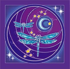 Our Dragonfly Moon Wall Hanging is individually hand-painted & batiked on highest quality rayon. Dragonfly Art, Dragonfly Tattoo, Purple Love, All Things Purple, Glass Tile Pendant, Prayer Flags, Stars And Moon, Rock Art, Science Nature