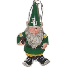 Just in time for football season. Add a little football spirit to your home with this 3-3/4'' poly resin gnome ornament. Hand painted in school colors. Features the school logo on its hat and a football clutched at its side.