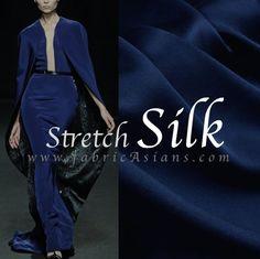 Midnight Blue Stretch Silk Fabric by fabricAsians