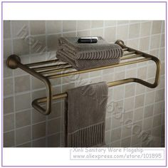 wall mounted towel rack - Google Search Towel Holder, Towel Racks, Bronze Finish, Wall Mount, Hardware, Brass, House Design, Luxury, Retail