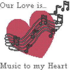 Cross Stitch Pattern Heart with Music by oneofakindbabydesign, $3.95 sayings