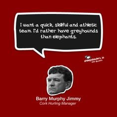 """""""I want a quick, skillful and athletic team. I'd rather have greyhounds than elephants. Star Quotes, True Quotes, Greyhounds, Hurley, Elephants, Cork, Ireland, Irish, Things I Want"""