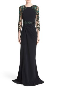 Marchesa Stretch Crepe Gown with Embellished Sleeves and Waist | Nordstrom