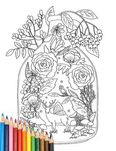 Coloring Page Woodland Terrarium