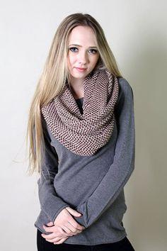Amazon.com: Viverano Organic Cotton Knit Infinity Scarf, Super Soft, Non-Toxic (Merlot / Beige): Clothing