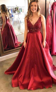Open Back Long Prom Dress with Beading, Popular Sweet 16 Dress ,Fashio – PromDressForGirl
