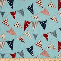 Moda Red, White & Free Buntings Light Blue from @fabricdotcom  Designed by Sandy Gervais for Moda, this cotton print is perfect for quilting, apparel and home decor accents.  Colors include red, navy, cream, and light blue.