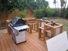 How to Build an Outdoor Kitchen and BBQ Island diy outdoor barbeque islands - Bing Images Build Outdoor Kitchen, Outdoor Kitchen Countertops, Backyard Kitchen, Outdoor Kitchen Design, Outdoor Cooking, Backyard Patio, Backyard Landscaping, Outdoor Kitchens, Bbq Kitchen