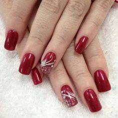 Nail Art by Helen - Nails - # nails Xmas Nails, Holiday Nails, Red Nails, Red Christmas Nails, Helen Nails, Cute Nails, Pretty Nails, Nagellack Design, Red Nail Designs