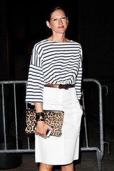 Jenna Lyons wears classic prints: stripes + leopard