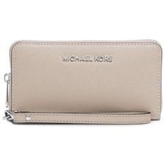 Michael Michael Kors  Jet Set Travel Large Saffiano Leather Smartphone... ($108) ❤ liked on Polyvore featuring accessories, tech accessories, bright red, iphone smartphone, red wristlet, iphone wristlets, smart phone wristlet and michael michael kors wristlet