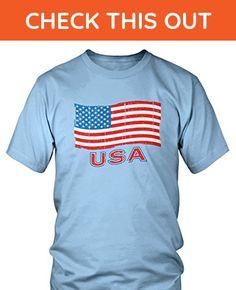 Amdesco Men's USA Flag, Faded Flag of The United States T-shirt, Light Blue 3XL - Cities countries flags shirts (*Amazon Partner-Link)