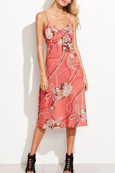 Pink Floral Print Backless V Neck Slip Dress