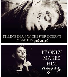 A very important lesson to know. Never kill Dean Winchester. He won't be dead for very long and it will only make him angry. Never kill his brother Sam Winchester. You kill Sammy and you'll have Dean hunting down your ass forever until you're dead. Winchester Boys, Winchester Brothers, Demon Dean Winchester, Sam Dean, Jeffrey Dean Morgan, Destiel, Jensen Ackles, Drama, Batman