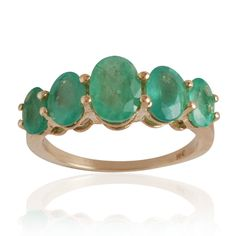 AAA Natural Emerald & 10K Yellow Gold Ring Jewelry