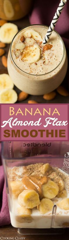 Banana Almond Flax Smoothie - this healthy smoothie tastes like dessert! The almond extract is a must! Creamy and so delicious! #fastmetabolismdietsmoothies #fastmetabolismdietdessert