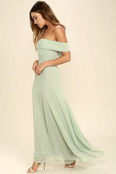 It's impossible to be anything but graceful in the Perfectly Poised Sage Green Off-the-Shoulder Maxi Dress! Chiffon shapes an elasticized, off-the-shoulder neckline and princess seamed bodice atop an elegant maxi skirt. Hidden back zipper with clasp.