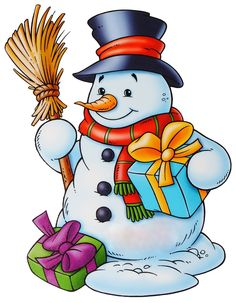 snowmen.quenalbertini: Snowman with a broom and gifts