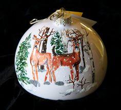 Hand Painted Ornament-Two Deer in Snow Item by reneesprettypainted