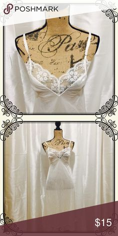 918ea929f Vintage full slip white satin and lace Vintage full slip white satin and  lace.