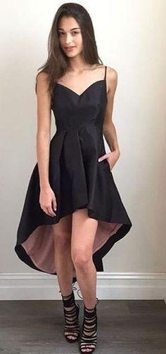 High and Low Black Midi Dress                                                                             Source