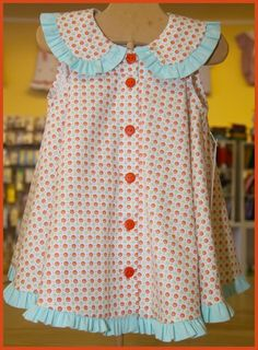 Madeline pattern by Children's Corner. Sample made for Thimbles in Hoover, AL Toddler Dress, Toddler Outfits, Baby Dress, Kids Outfits, Little Dresses, Little Girl Dresses, Girls Dresses, Girl Dress Patterns, Clothing Patterns