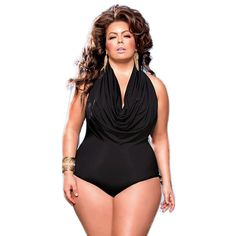 PLUS SIZE Ruffle Front One Piece Bathing Suit Black or Red XL-3XL