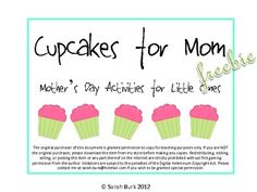 Cupcakes for Mom Freebie includes two cards (one full page, one half page) for children to color for Mother's Day. Cards feature fanciful cupca...