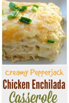 These creamy pepper jack chicken enchiladas are to die for. So cheesy and so creamy. These creamy pepper jack chicken enchiladas are to die for. So cheesy and so creamy. Enchilada Pasta, Easy Enchilada Casserole, Chicken Enchilada Bake, Enchilada Recipes, Casserole Recipes, Green Chili Chicken Casserole, Chicken Tortilla Casserole, Stuffed Pepper Casserole, Chicken Chili
