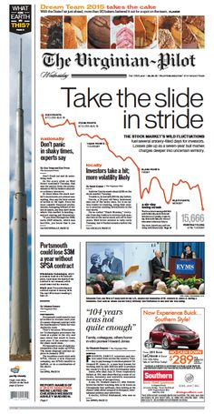The Virginian-Pilot's front page for Wednesday, Aug. 26, 2015.