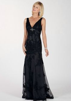 Sheath/Column V-Neck Floor-Length Black Tulle Mother Of The Bride Dresses