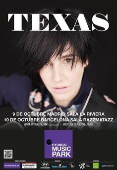 Cartel de la próxima gira de #Texas: 9/10 La Riviera en #Madrid y 10/10 Razzmatazz en #Barcelona